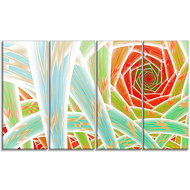 DesignArt 'Red Fractal Endless Tunnel' Graphic Art Print Multi-Piece Image on Canvas