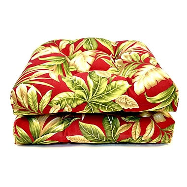 Wildon Home Tropical Wicker Outdoor Dining Chair Cushion (Set of 2)