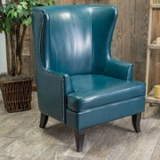 Alcott Hill Roundtree High Back Wing Club Chair; Teal
