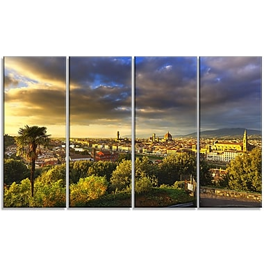 DesignArt 'Florence Sunset Aerial View' Photographic Print Multi-Piece Image on Canvas