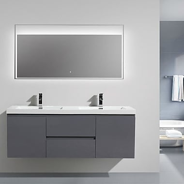 Morenobath MOB 59'' Double Bathroom Vanity Set; High Gloss Gray
