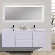 Morenobath MOB 59'' Double Bathroom Vanity Set; High Gloss White