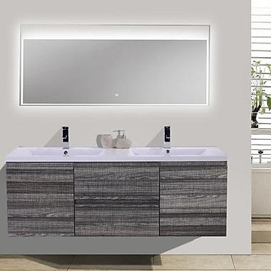 Morenobath MOB 59'' Double Bathroom Vanity Set; High Gloss Ash Gray