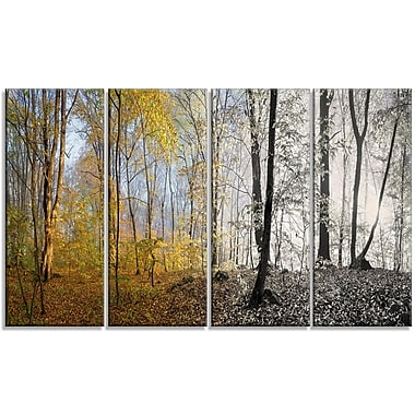 DesignArt 'Yellow Morning in Forest Panorama' Photographic Print Multi-Piece Image on Canvas
