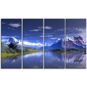 DesignArt '3D Rendered Mountains and Lake' Photographic Print Multi-Piece Image on Canvas