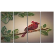 DesignArt 'Red Paper Quilling of Cardinal Bird' Graphic Art Print Multi-Piece Image on Canvas