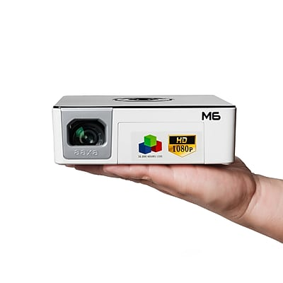 AAXA M6 Full Native 1080p HD Pico Projector, 1200 LED Lumens, 90-minute Battery, 30k hour LED Life, Onboard Media Player
