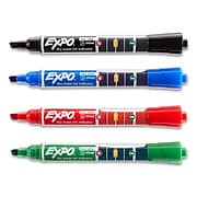 EXPO Dry Erase Markers with Ink Indicator, Chisel Tip, Assorted Colors, 4 Pack (1946766)