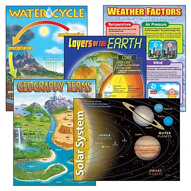 Trend Enterprises Learning Charts Combo Pack, Earth Science, 5/Pack (T-38929)