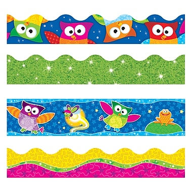Trend Enterprises Straight/Scalloped Lime Sparkle Owl-Stars Terrific Trimmer, Bolder Borders, Multicolour, 143/Pack (T-90822)