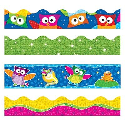 Trend T-90822 146.25' Straight/Scalloped Lime Sparkle Owl-Stars Terrific Trimmer, Bolder Borders, Multicolor