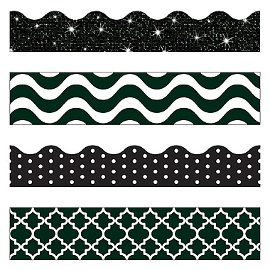 Trend Enterprises 143' Straight/Scalloped Terrific Trimmer And Bolder Borders, Black/White, 143/Pack (T-90827)