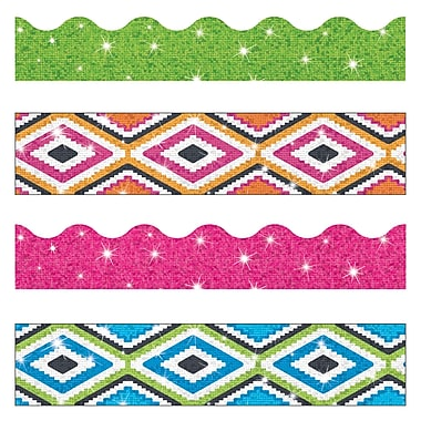 Trend Enterprises Toddler - 12th Grade Terrific Trimmer & Bolder Border Variety Pack, Aztec Sparkle, 143/Pack (T-90828)