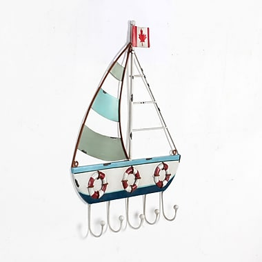 Wall Canada Flag Sailboat with 5 Hooks, 2/Pack