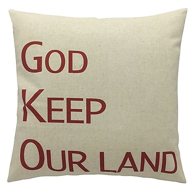 Oreiller de plumes, God Keep Our Land, rouge, 6,75 x 18 x 18, paq./2