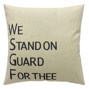 2-Piece Cushion Feather Insert, We Stand On Guard For Thee, Black, 6.75x18x18
