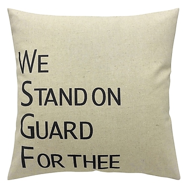 Cushion Feather Insert, We Stand On Guard For Thee, Black, 8x26x26
