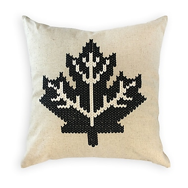 2-Piece Cushion Feather Insert, Maple Leaf, Black, 6.75x18x18