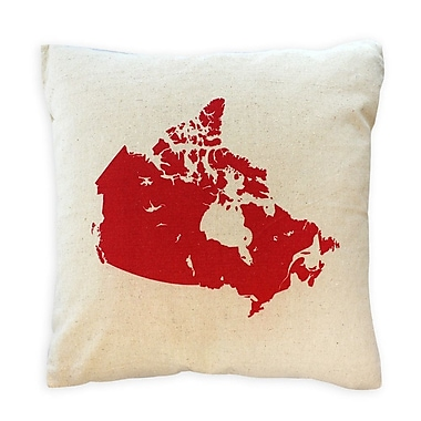 2-Piece Cushion Feather Insert, Canada Map, Red, 6.75x18x18