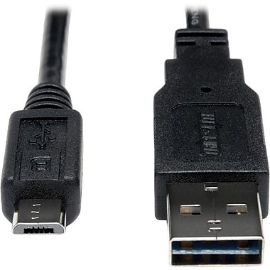 Tripp Lite 1ft USB 2.0 High Speed Cable 28/24AWG Reversible A to 5Pin Micro B M/M 10pc Bulk Pack