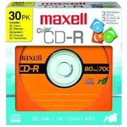 Maxell Designer CD Recordable Media, CD-R, 48x, 700 MB, 30 Pack Paper Sleeve