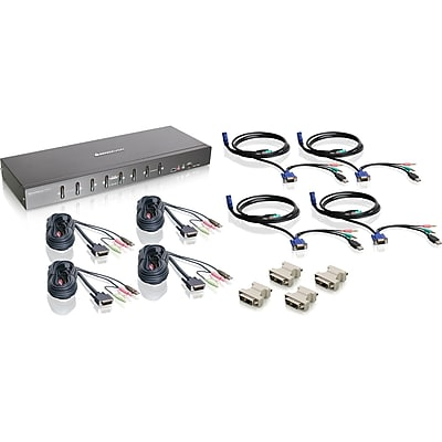 IOGEAR 8-Port Dual Link DVI KVMP Switch KIT with VGA Support