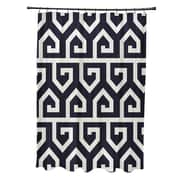 Brayden Studio Minden Keyed Up Geometric Print Shower Curtain; Navy Blue