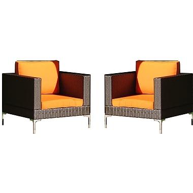 Brayden Studio Kelton Club Chair w/ Cushions (Set of 2); Orange