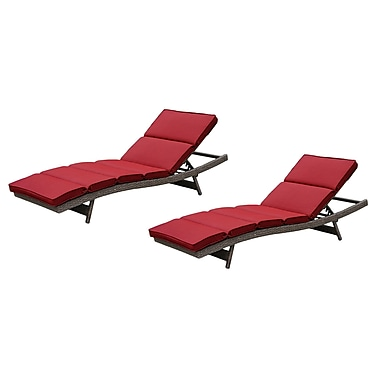 Brayden Studio Fortenberry Chaise Lounge w/ Cushion (Set of 2); Ribbed Brick