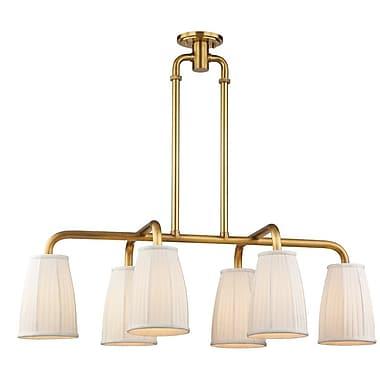 Brayden Studio Rocco 6-Light Kitchen Island Pendant; Aged Brass