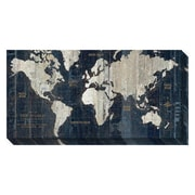 Brayden Studio Old World Map Blue Painting Print on Wrapped Canvas