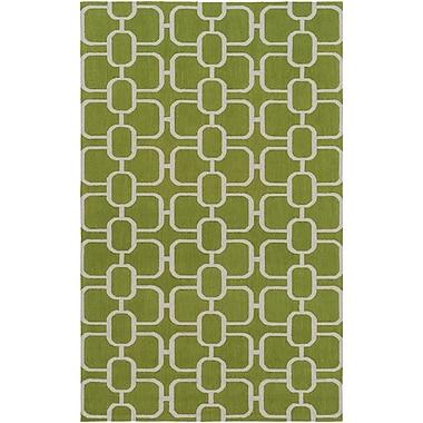 Brayden Studio Herring Hand-Hooked Grass Green/Light Gray Area Rug; 5' x 7'6''