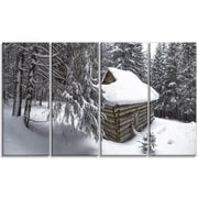 DesignArt 'House in Magic Winter Forest' Photographic Print Multi-Piece Image on Canvas
