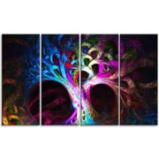 DesignArt 'Magical Multi-color Psychedelic Tree' Graphic Art Print Multi-Piece Image on Canvas