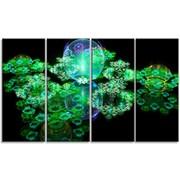 DesignArt 'Green Water Drops on Mirror' Graphic Art Print Multi-Piece Image on Canvas