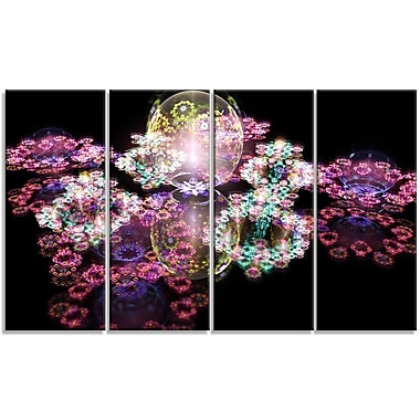 DesignArt 'Pink Water Drops on Mirror' Graphic Art Print Multi-Piece Image on Canvas