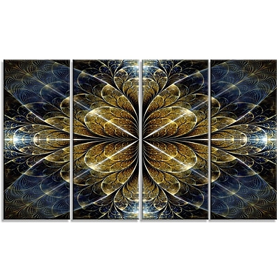 DesignArt 'Digital Gold Fractal Flower' Graphic Art Print Multi-Piece Image on Canvas