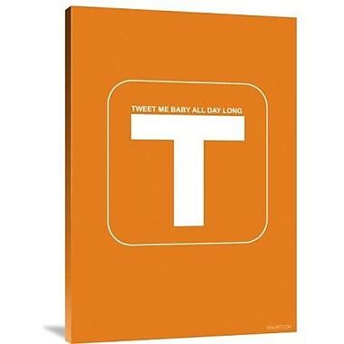 Naxart 'Tweet Me Baby All Day Long Orange' Textual Art on Canvas; 16'' H x 11'' W x 1.5'' D