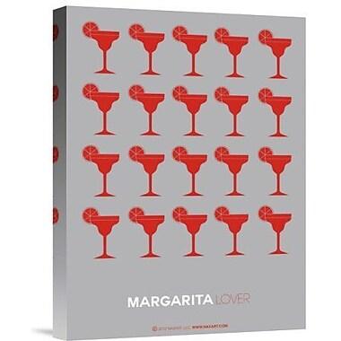 Naxart 'Red Margaritas Gray' Graphic Art Print on Canvas; 16'' H x 12'' W x 1.5'' D