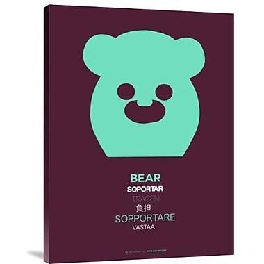 Naxart 'Green Bear Multilingual' Graphic Art Print on Canvas; 16'' H x 12'' W x 1.5'' D