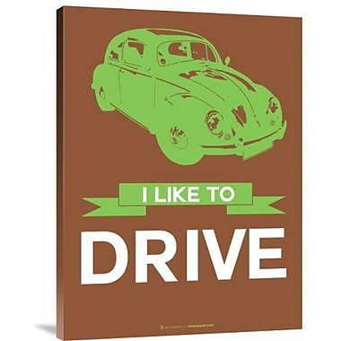 Naxart 'I Like to Drive Beetle 2' Graphic Art Print on Canvas; 16'' H x 12'' W x 1.5'' D