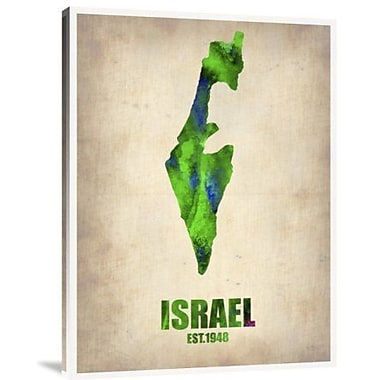Naxart 'Israel Watercolor Map' Graphic Art Print on Canvas; 24'' H x 18'' W x 1.5'' D