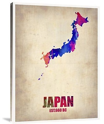 Naxart 'Japan Watercolor Map' Graphic Art Print on Canvas; 40'' H x 30'' W x 1.5'' D