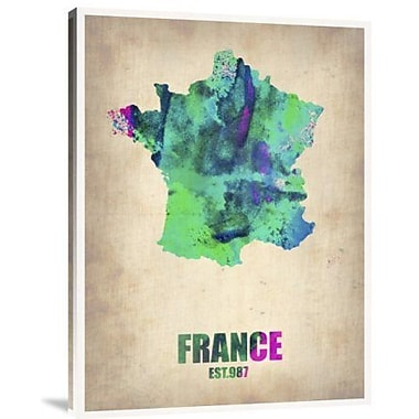 Naxart 'France Watercolor Map' Graphic Art Print on Canvas; 32'' H x 24'' W x 1.5'' D