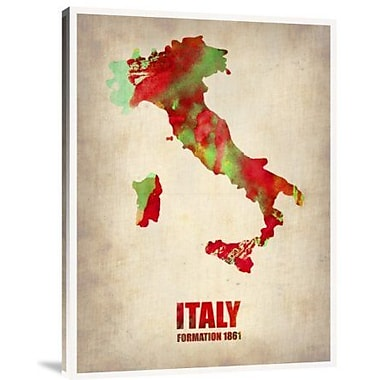 Naxart 'Italy Watercolor Map' Graphic Art Print on Canvas; 24'' H x 18'' W x 1.5'' D