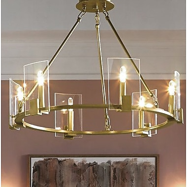 Brayden Studio Ahlers 6-Light Candle-Style Chandelier; Natural Brass
