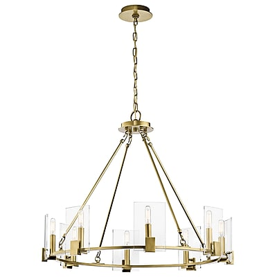 Brayden Studio Bakken 8-Light Candle-Style Chandelier; Natural Brass