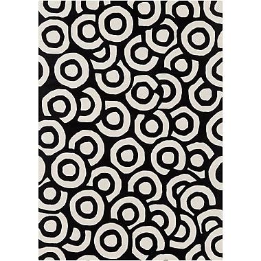 Brayden Studio Perna Black & White Geometric Area Rug; 7' x 10'