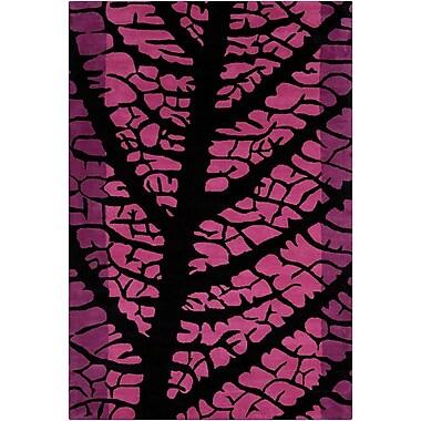 Brayden Studio Oritz Hand Tufted Wool Black/Pink Area Rug