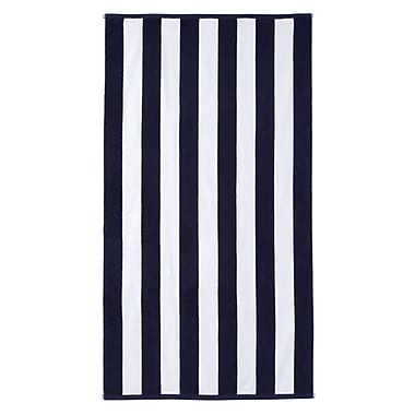 Brayden Studio Cotton Stripe Beach Towel; Navy